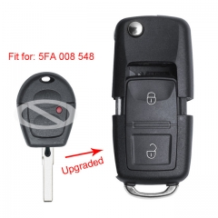 Upgraded Flip Remote Car Key Fob 433MHz ID48 for Volkswagen Bora Polo Golf Passat Lupo P/N: 5FA 007 680