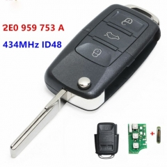 Upgraded Folding Remote Key Fob 3 button 434MHz ID48 chip for Volkswagen Crafter 2E0 959 753 A