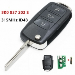 Upgraded Folding Remote Key Fob 3 button 315MHz ID48 chip for Volkswagen ZV Radio USA Golf Scirocco Beetle 5K0837202S