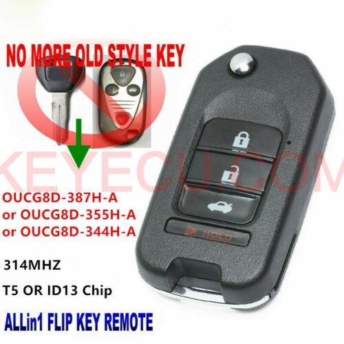 Upgraded Flip Remote Key T5 / ID13 Chip For 2001-2006