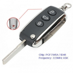 3+1B Smart Remote Key Fob 315MHz ID46 for Bentley Continental GT GTC Flying Spur