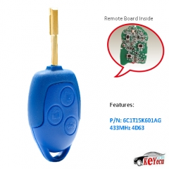 Aftermarket Remote Key FOB 3 Button 433MHz 4D63 Chip for Ford Transit WM VM 2006-2014 FO21