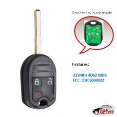 Keyless Remote Head Key Fob 3B Replacement for Ford Fiesta That Use FCC: OUC6000022
