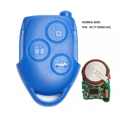 Remote Key FOB 3 Button 433MHz 4D63 Chip for Ford Transit WM VM 2006-2014