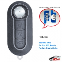 Remote Car Key Fob 3 Button 433MHz ID46 for Fiat 500, Doblo, Florino, Punto Qubo