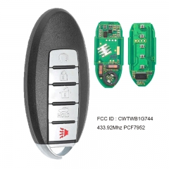 Smart Remote Car Key Fob 5 Button 433.92MHz PCF7952A / HITAG 2 / 46 Chip  for Nissan Patrol 2014-2015 FCC ID : CWTWB1G744