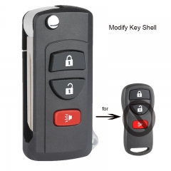 Modified Flip Remote Key Shell 3 Button for Nissan Pathfinder Titan Xterra Quest Frontier Murano