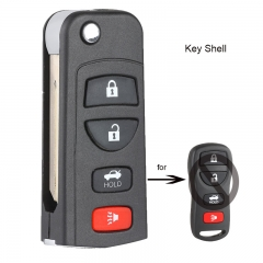 Modified Flip Remote Key Shell 4 Button for Nissan Altima