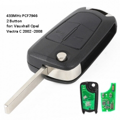 Folding Remote Key 2 Button ASK 433MHz PCF7946A / HITAG 2 / 46 Chip for Opel /Vauxhall Vectra C Signum