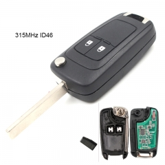 Remote Key 2 Button 315MHz ID46 for Opel HU100 Blade
