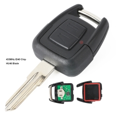 2 Button Remote Key Fob 433.92Mhz ID40 Chip for Vauxhall Opel Astra Vectra Zafir HU46