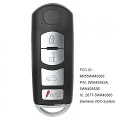 Remote Smart Prox Key Uncut Blade Insert Push To Start 4B for Mazda 6 2009-2013 FCC ID: KR55WK49383