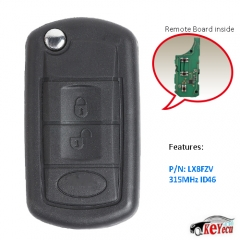 Modified Flip Remote Key 315MHz/433MHz for LAND ROVER Range Rover 2002-2006 LX8FZV