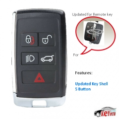 Updated Shell for Land Rover Jaguar Remote Key Case Fob 5 Button - KOBJTF10A