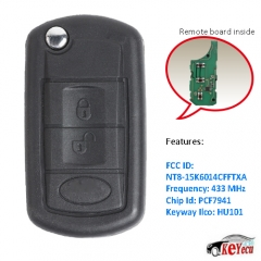 Replacement Flip Remote Car Key Fob 433MHz ID46 for Land Rover LR3 Range Rover Sport 2005-2011 FCC: NT8-15K6014CFFTXA