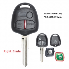 Remote Key 3 Button 433MHz 4D61 Chip for Mitsubishi Right Blade
