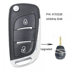 Upgraded Flip Remote Key Fob 2 Button 433MHz ID48 for Vauxhall Omega/Vectra/Frontera/Isuzu P/N: 9153226