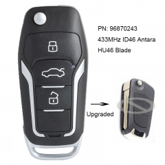 Upgraded Flip Remote Car Key Fob 2/3 Button Optional 433MHz ID46 for Opel Antara 2007-2015 Uncut HU46 Blade PN: 96870243