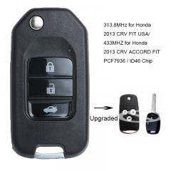 Upgraded Flip Remote Key Fob With ID46 chip 313.8MHz for Honda 2013 CRV FIT USA, 433MHZ for Honda 2013 CRV ACCORD FIT P/N: MLBHLIK-1T