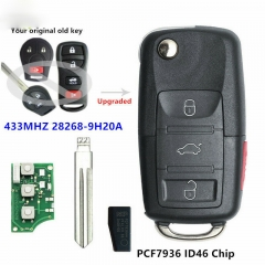 Upgraded Flip Remote Key 433MHZ ID46 for Nissan Maxima TIIDA xTrail 28268-9H20A