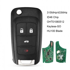 Keyless-GO Remote Key Fob 315MHZ /433MHz ID46 Chip with Remote Start for Chevrolet Cruze Equinox Sonic FCC: OHT01060512