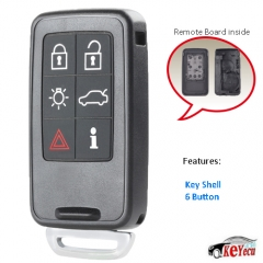 Remote Car Key Shell Case Fob 6 Button for Volvo S60 S80 V60 XC60 XC70 FCC ID: KR55WK49266