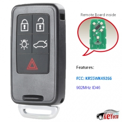 Remote Car Key Fob 5 Button 902MHz for Volvo S60 S80 V60 XC70 V70 XC60 FCC KR55WK49266