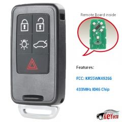 Replacement Remote Key Fob 5B 433MHz ID46 for Volvo S80 S60 V60 FCC: KR55WK49266