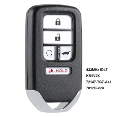 Replacement Smart Remote Key Fob 433MHz ID47 for Honda Pilot 2016-2018 - KR5V2X