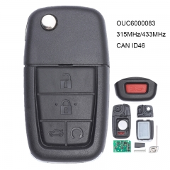 Flip Remote Key 5 Button 315MHz/ 433MHz CAN ID46 for Pontiac G8 2008-2009 FCCID OUC6000083