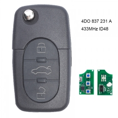 Folding Remote Key 3 Button  433.92Mhz With ID48 Chip for Audi Audi A3 A4 A6 1999-2002 4D0 837 231 A