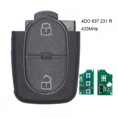 Remote Control Key 433.92Mhz 2 Button 4DO 837 231 R for Audi