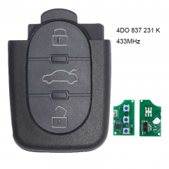 Remote Control Key 3 Button 4DO 837 231 K 433.92Mhz For Audi