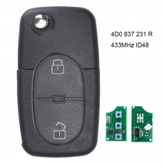 Folding Remote Key 433.92Mhz ID48 Chip 2 Button for Audi A3 A4 A6 Cabriolet RS4 1997-2002 P/N: 4D0 837 231 R