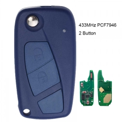 Flip Remote Key 2 Button 434MHz PCF7946 for Fiat Punto Ducato Stilo Panda Central Blue