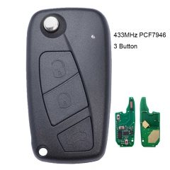 Flip Remote Key 3 Button 434MHz PCF7946 for FIAT Punto Ducato Stilo Panda Central Black
