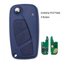 Flip Remote Key 3B 434MHz PCF7946 for Fiat Punto Ducato Stilo Panda Central Blue