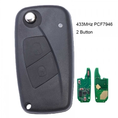 Flip Remote Key 2 Button 434MHz PCF7946 for FIAT Punto Ducato Stilo Panda Central Black