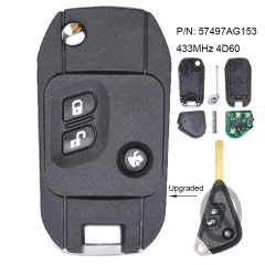 Modified Flip Remote Car Key 433MHz 4D60 Fob 3 Button for Subaru Forester 2009-2010 P/N: 57497AG153