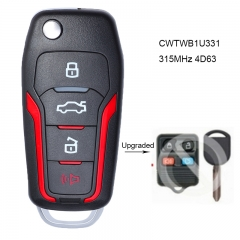 Upgraded Red Flip Remote Key 315MHz 4D63 80 BIT Chip for Ford FCC: CWTWB1U331