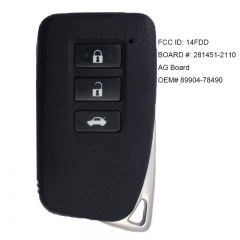 Smart Key 3 Button Transmitter for Lexus NX300H NX200T NX300 2015-2018 P/N: 89904-78140 2110 AG Board