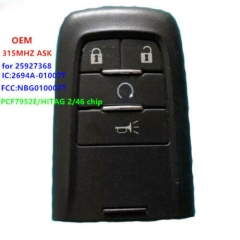 OEM Remote Key FOB ASK 315MHZ for SAAB 9-4x 25927368 NBG010007T