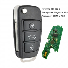 ASK 434MHz Keyless Remote Car Key Fob for Audi A3 S3 2012 2013 2014 2015 P/N: 8V0837220D