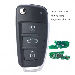 3 Button Remote Car Key 433MHz Fob for Audi A3 S3 2012-2015 with Megamos AES CHIP 8V0 837 220