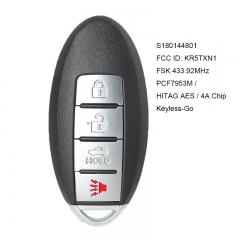 Keyless-Go Smart Remote Key 4B FSK 433.92MHz PCF7953M / HITAG AES / 4A Chip for Nissan Altima 2019-2020 FCC ID: KR5TXN1 S180144801
