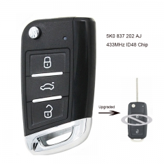 Upgraded Remote Key for Volkswagen Caddy Polo Transporter Beetle Jetta Touran Golf 6 Tiguan Eos Sharan UP  5K0 837 202 AJ