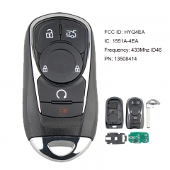 Replacement Proximity 6 Button Smart Key with Trunk 433MHz ID46 for Buick Lacrosse 2017-2020 PN: 13508414 / HYQ4EA