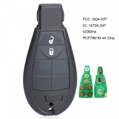 Remote Key Fob Fobik 433MHz PCF7961M 4A Chip for Jeep Cherokee Sport KL 2014 2015 2015 2017 2018 2019 FCCID:  GQ4-53T