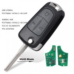 Replacement Flip 3 Buttons Remote Key Fob ASK 315MHz/433MHz PCF7946 for Vauxhall/Opel Vectra C,Signum 2003-2007 Uncut HU43 blade