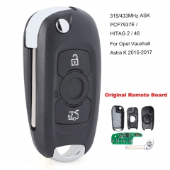 Flip Remote Car Key Fob 3 Button 315MHz/433MHz ASK PCF7937E / HITAG 2 / 46 Chip for Opel Vauxhall Astra K 2015 2016 2017 (315MHz Original Remote Board